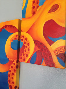Original Orange Octopus Diptych