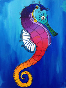 Rainbow Seahorse Matted Print