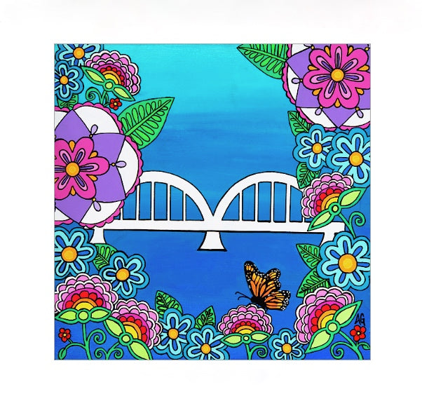 Rainbow Bridge in Flowers Matted Print