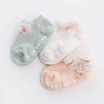 [leggycozy] (3pairs/Set) Princess Style Infant Baby Flower Cotton Socks for Toddler