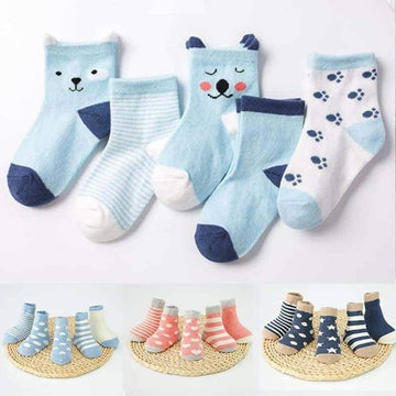 [leggycozy] (5pairs/set) Baby Cotton Toddler Socks for 0-3y