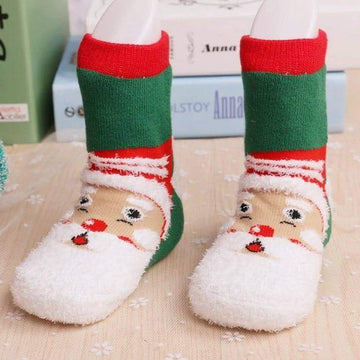 [leggycozy] (6pairs/set) Terry Christmas Cartoon Plush Socks 1-3 yo