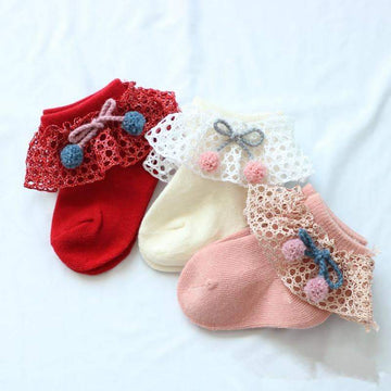 [leggycozy] Baby Autumn Winter Lace Bow Knot Cotton Socks for 0-1 Year