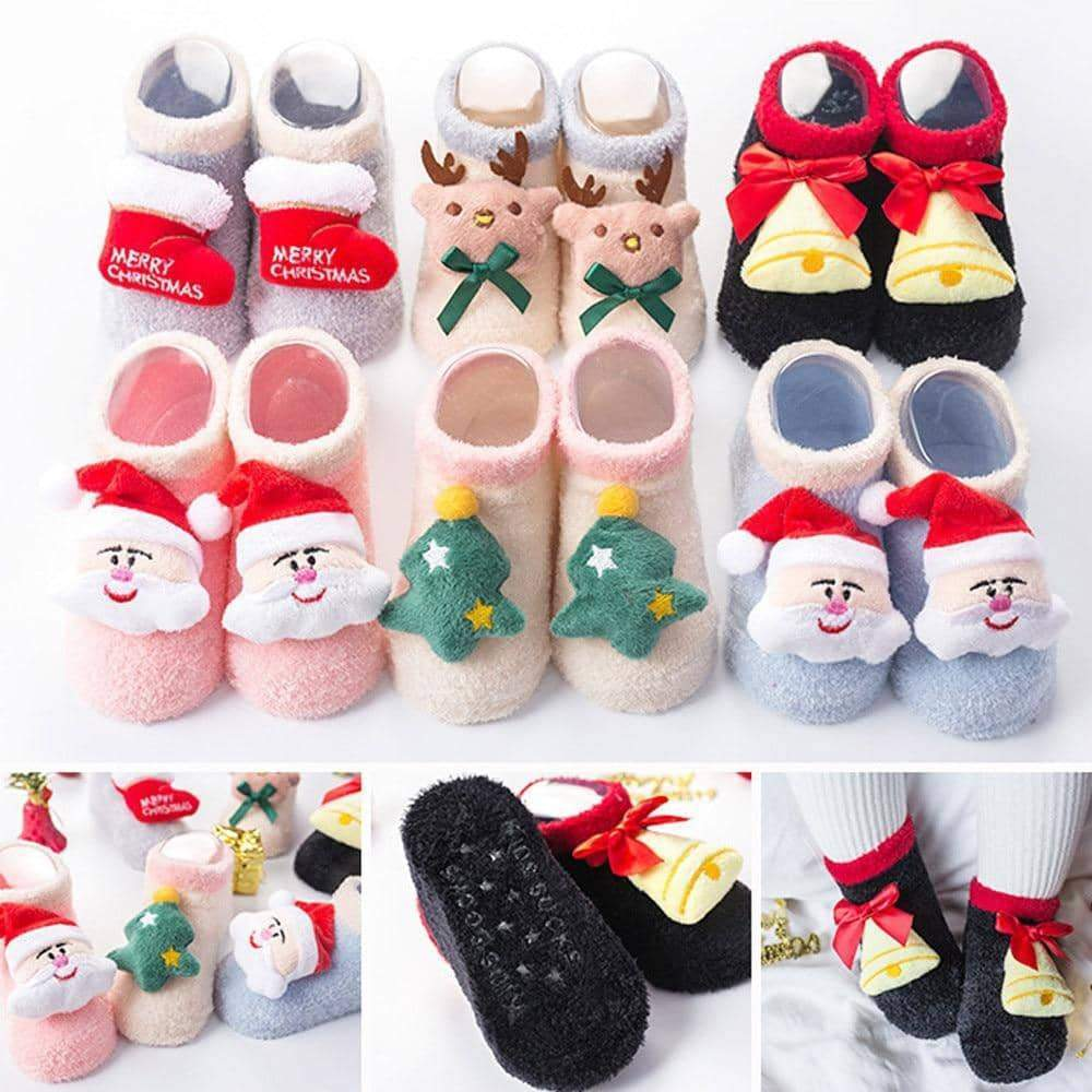 [leggycozy] Baby Girls & Boys Christmas Cartoon Decoration Fluffy Cotton Socks for 0-3Y
