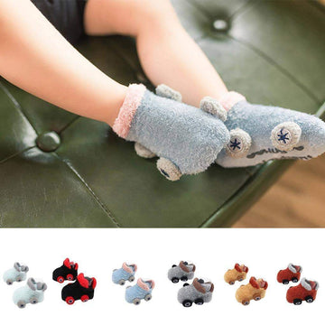 [leggycozy] Cartoon Car Shape Non-slip Warm Baby Fluffy Socks for Toddler