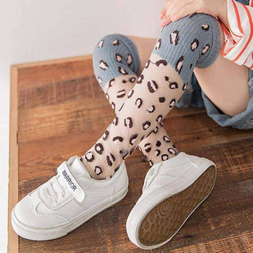 [leggycozy] Children Leopard Breathable Mesh Knee High Socks for Girls 5-8 years