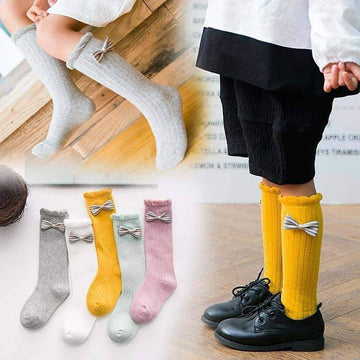 [leggycozy] Children Loose Mouth Bow-Tie Ruffle Cotton Socks