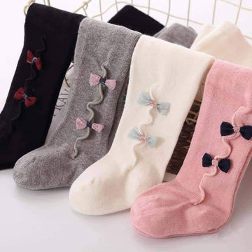[leggycozy] Cute Baby Bow Knot Cotton Warm Pantyhose Stockings 0-3Y