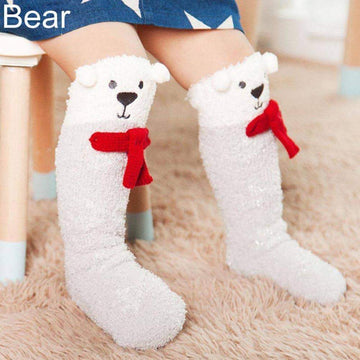 [leggycozy] Cute Cartoon Baby Toddler Girls Boys Knee High Fluffy Floor Socks