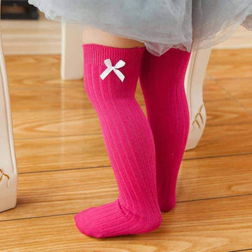 [leggycozy] Cute & Simple Infant Bow-Knot Knee Socks For Baby Girls