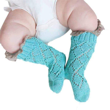 [leggycozy] Newborn Solid Color Lace Edge Knitted Anti-Slip Knee High Socks for 0-2Y