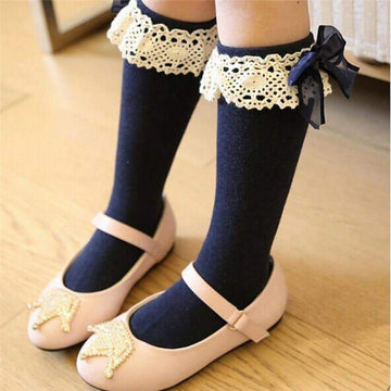 [leggycozy] Toddler Baby Girl Lace Solid Bow Knot Knee High Princess Socks (6 Colors 1-6 Years)