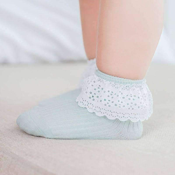 leggycozy Baby Socks [leggycozy] Unisex Floral Lace Thin Infant Socks For 0-3 Years