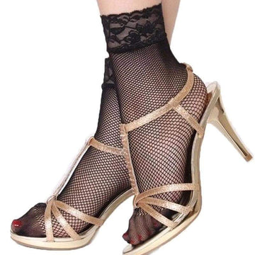 [leggycozy] (3Pairs/lot) Sexy Lace Black Ankle Fishnet Socks