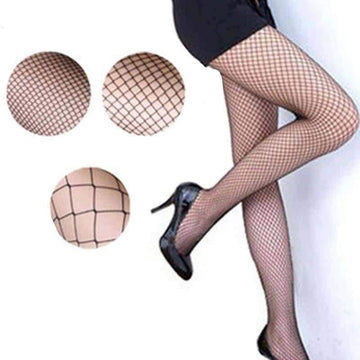 [leggycozy] Black Medium Grid Knitting Fishnet Pantyhose Stockings