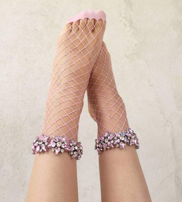 [leggycozy] Harajuku Colorful Glitter Five-pointed Star Rhinestone Fishnet Socks -5 Colors
