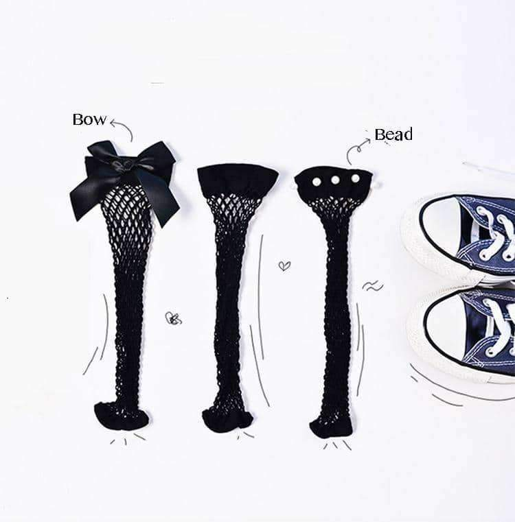 [leggycozy] Middle Fishnet Socks with Pearl & Bow-Knot