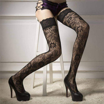 [leggycozy] Sexy Elegant Lace Top Floral Pattern Over Knee Nylon Fishnet Stockings