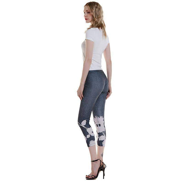 leggycozy Leggings [leggycozy] 3/4 Flower Print Fitness Leggings