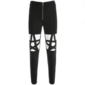 Open image in slideshow, [leggycozy] Black Punk Gothic Pencil Hollow Out High Waist Leggings