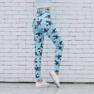 [leggycozy] Cartoon Whales Printing Slim High Waist Stretchy Leggings