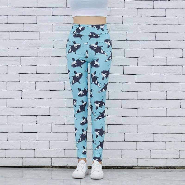 leggycozy Leggings [leggycozy] Cartoon Whales Printing Slim High Waist Stretchy Leggings