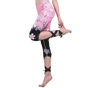 Open image in slideshow, leggycozy Leggings [leggycozy] Cherry Blossom Gradual Print Strap Bow Knot High Waist Leggings -Plus Size