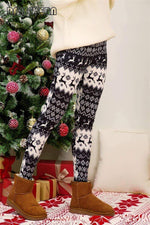leggycozy Leggings [leggycozy] Christmas Snowflake Reindeer Print Warm Cotton Leggings