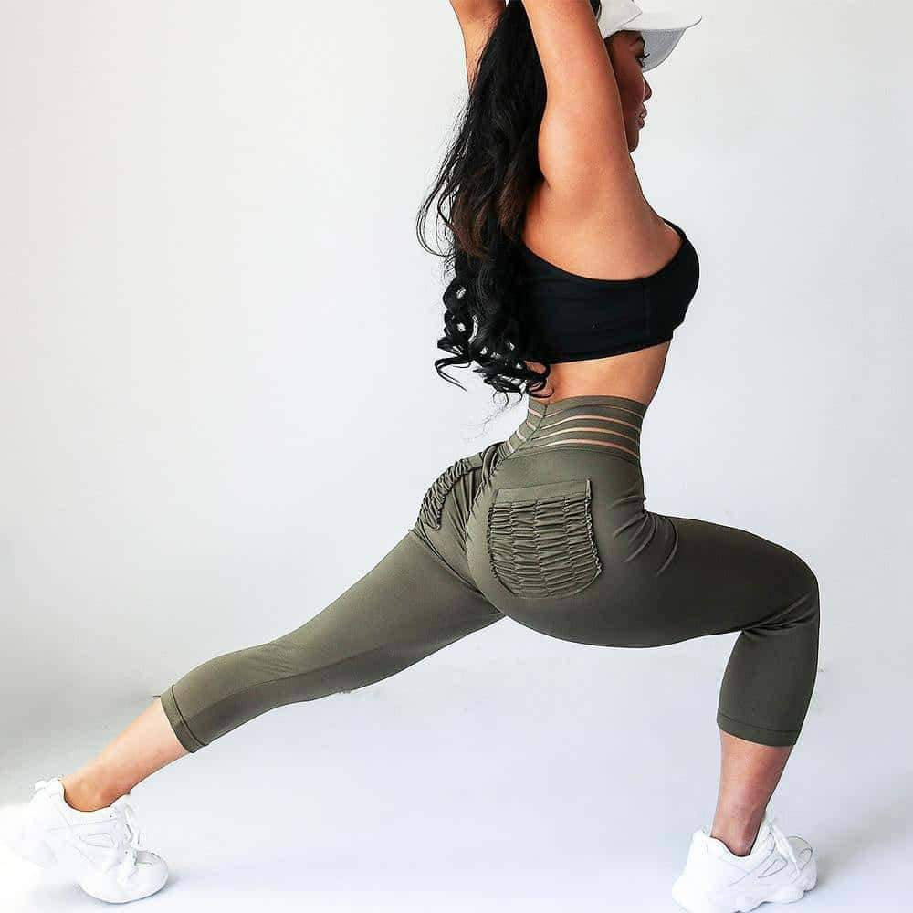 [leggycozy] Fitness High Waist Ruffle Pocket Leggings -Plus Size