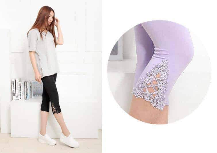 [leggycozy] Floral Lace Cropped 3/4 Leggings