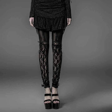 [leggycozy] Gothic High Waist Black Hollow Out Lace Bow Knot Leggings