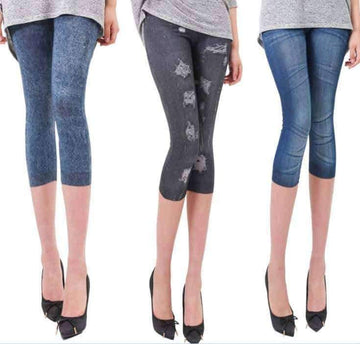 [leggycozy] Jeans-like Multi Patterns Stretchy 3/4 Mid-Calf Cotton Knitted Leggings