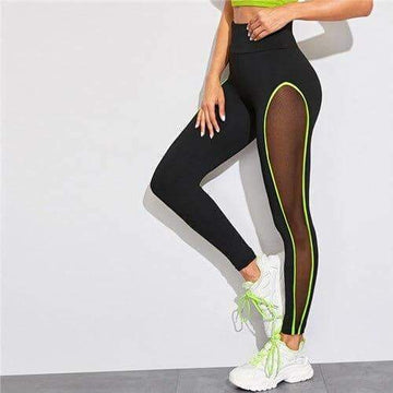 [leggycozy] Neon Lime Contrast Binding Sheer Panel Workout Leggings