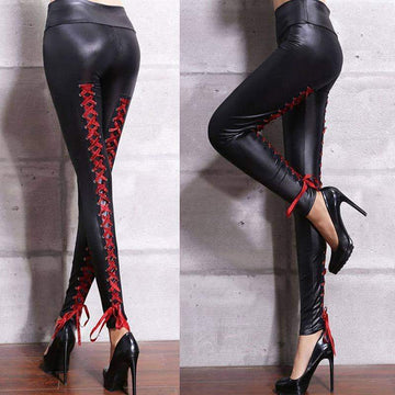 [leggycozy] Sexy Faux Leather Lace-Up High Waist Motor Biker Leggings