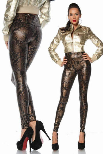 [leggycozy] Sexy Glitter Metallic Snake Leather Pattern Leggings