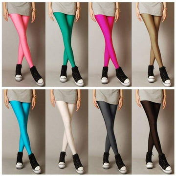 [leggycozy] Shiny Neon Color Thin Stretchy Casual Spandex Leggings