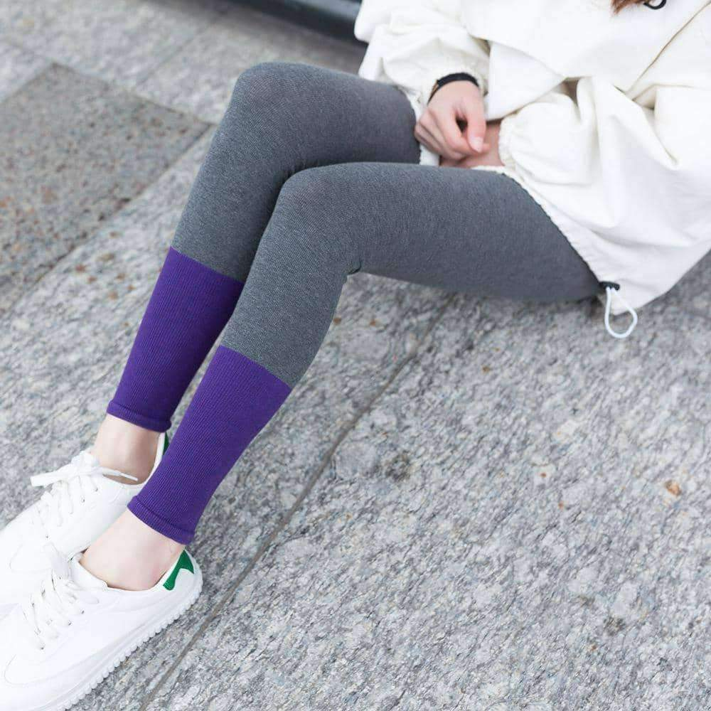 leggycozy Leggings [leggycozy] Splicing Colors Cotton Stretchy Workout Leggings