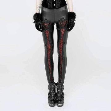 [leggycozy] Steampunk Vintage Gothic Leather Mesh Lace Embossed Leggings