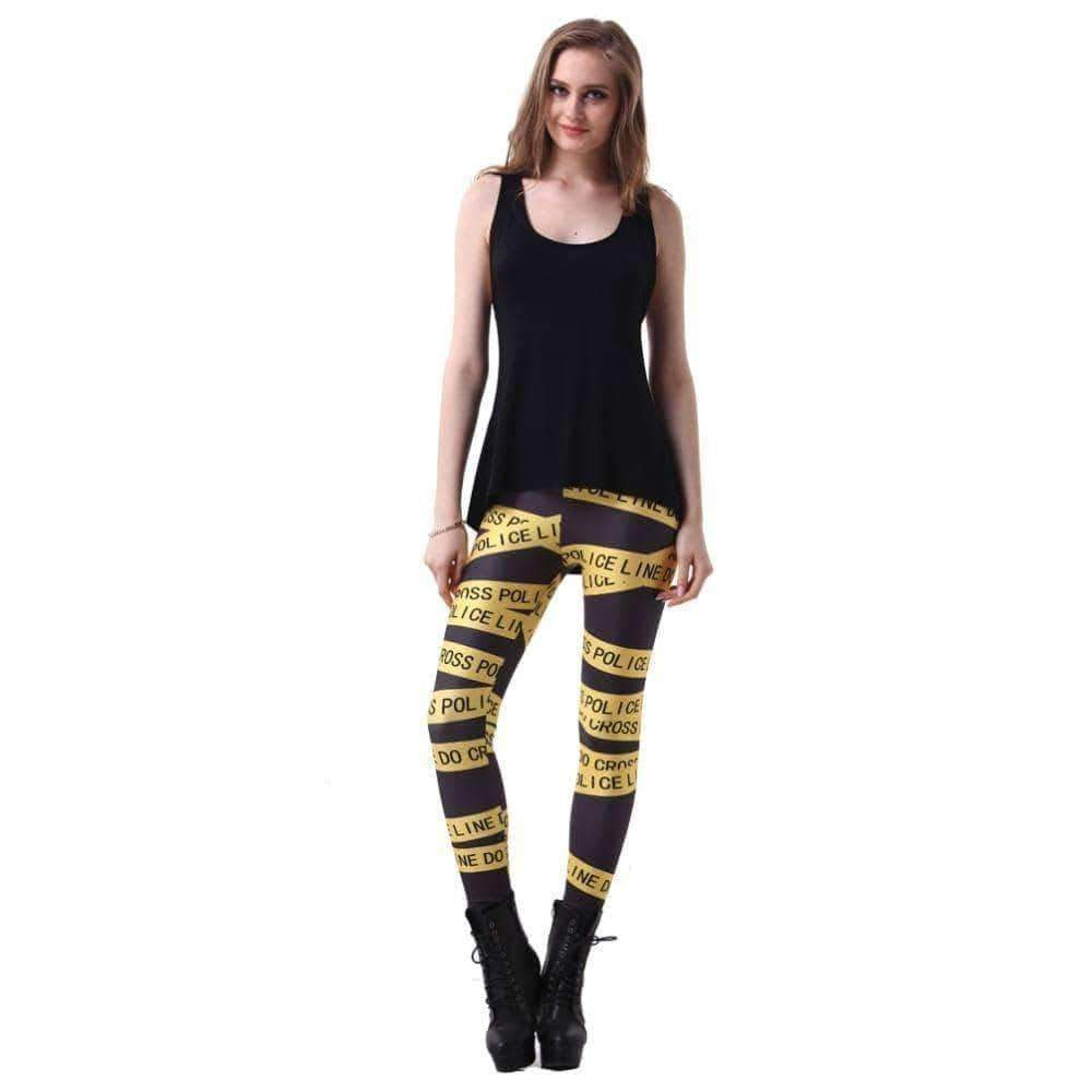[leggycozy] Yellow Police Line Pattern Leggings -7 sizes