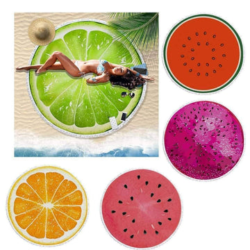 [leggycozy] 3D Fruit Printed Large Microfiber Round Beach Towel -Watermelon Orange Lime