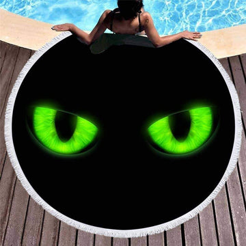 [leggycozy] 3D Printed Animal Eye Microfiber Tasseled Beach Round