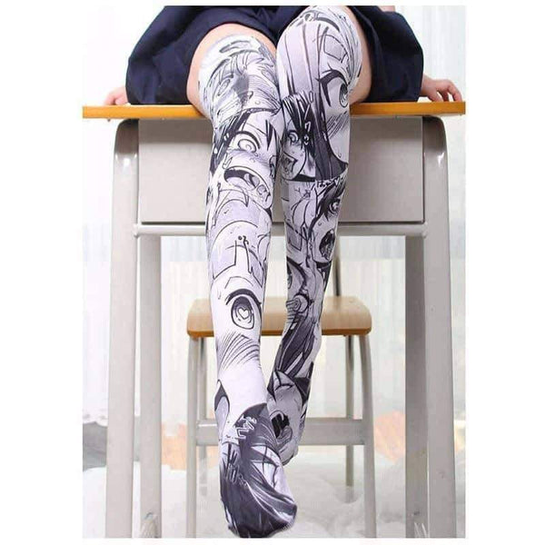 leggycozy [leggycozy] Anime Cartoon Pattern Printed Over Knee Stockings
