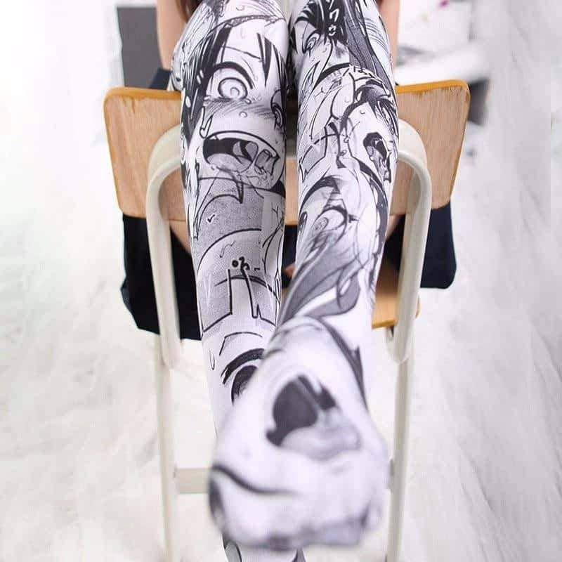 [leggycozy] Anime Cartoon Pattern Printed Over Knee Stockings
