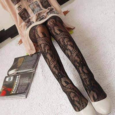 leggycozy [leggycozy] Black Sexy Fishnet Jacquard Pattern Pantyhose Tights Stockings
