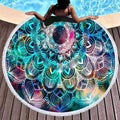 [leggycozy] Bohemian Colorful Feather Round Beach Towel