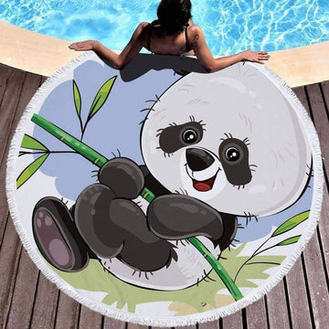 [leggycozy] Cartoon Panda Print Thick Microfiber Round Beach Towel