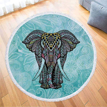[leggycozy] Colorful Elephant Printed Round Beach Towel with Tassel