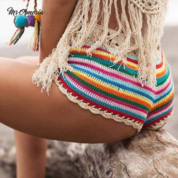 [leggycozy] Colorful Stripes Knit Crochet Bikini Bottom -Plus Size