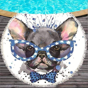 [leggycozy] Cute Dog Round Beach Towel 150cm