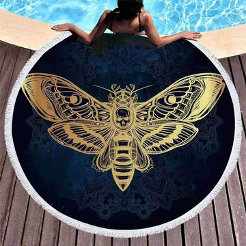 [leggycozy] Death Moth With Skull Round Beach Towel